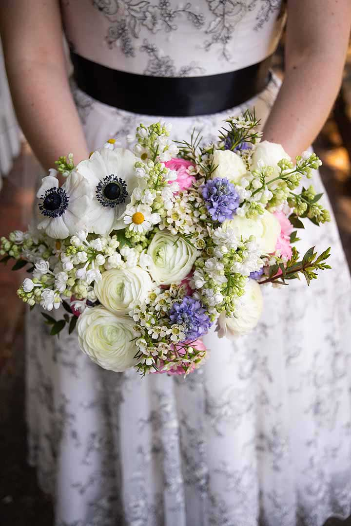 white, pink and blue spring bridal bouquet