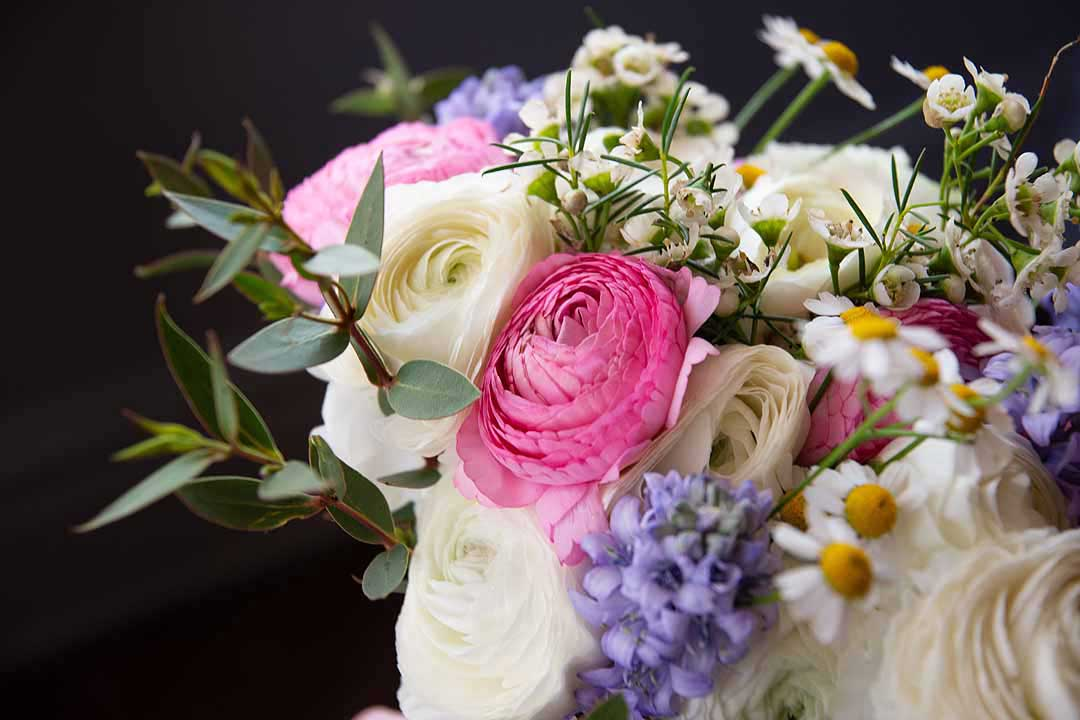 pink white and blue spring wedding bouquet