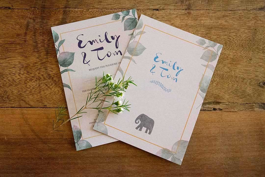 wedding invitations for Emily and Tom
