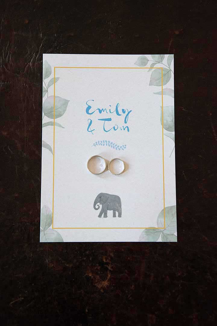 two wedding rings on a wedding invitation