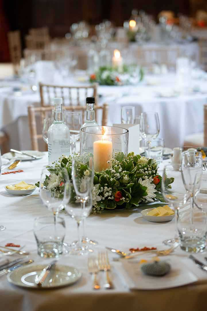 candle decoration on white tables