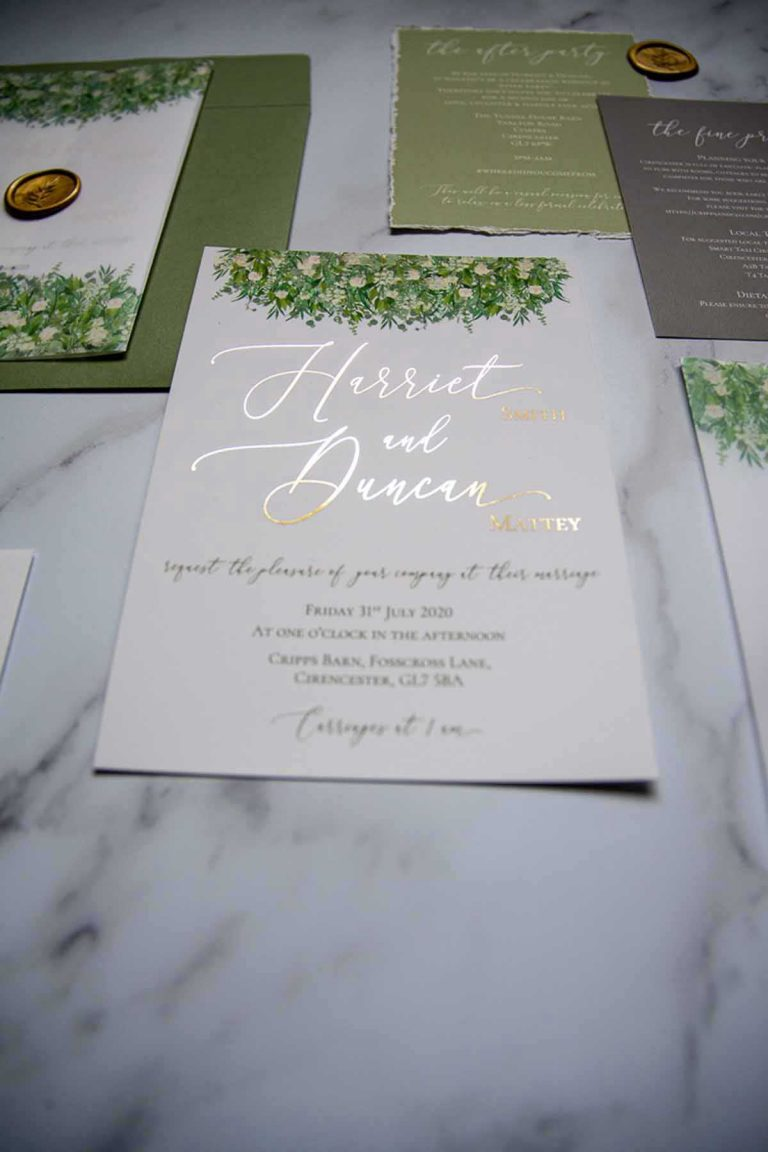Harriet and Duncan wedding stationery with gold foil writing