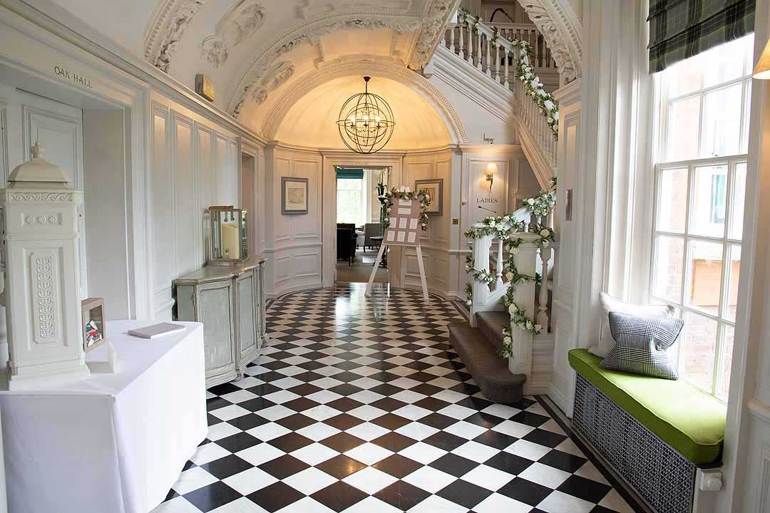 the grand entrance hall of Barnett Hill Hotel