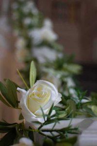 white rose garland