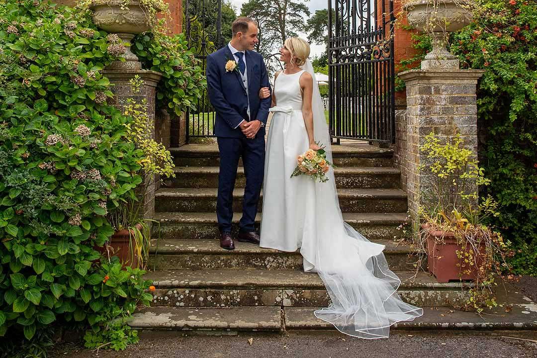 Barnett Hill Hotel - Bride and Groom in the gardens