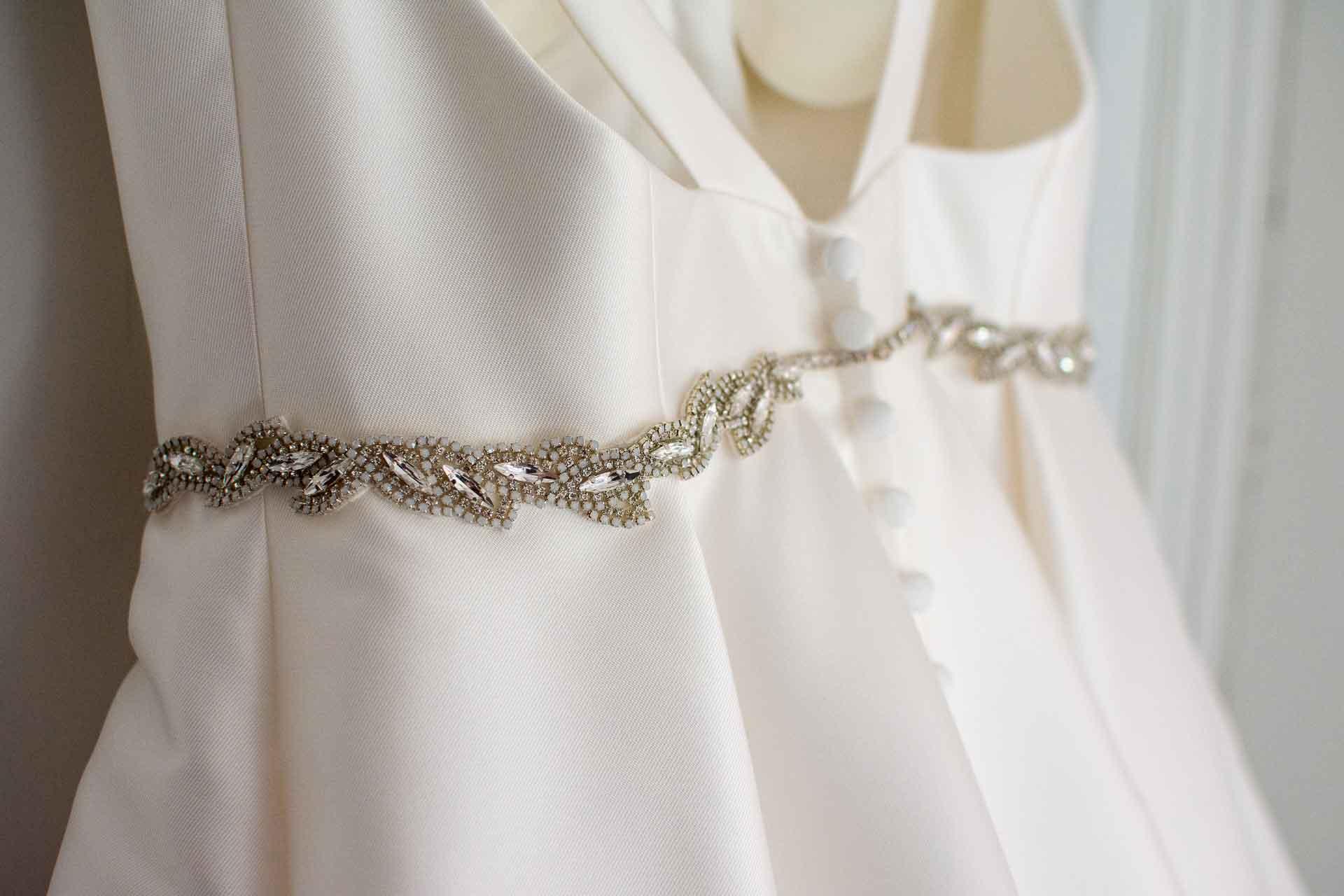 diamante wedding dress details