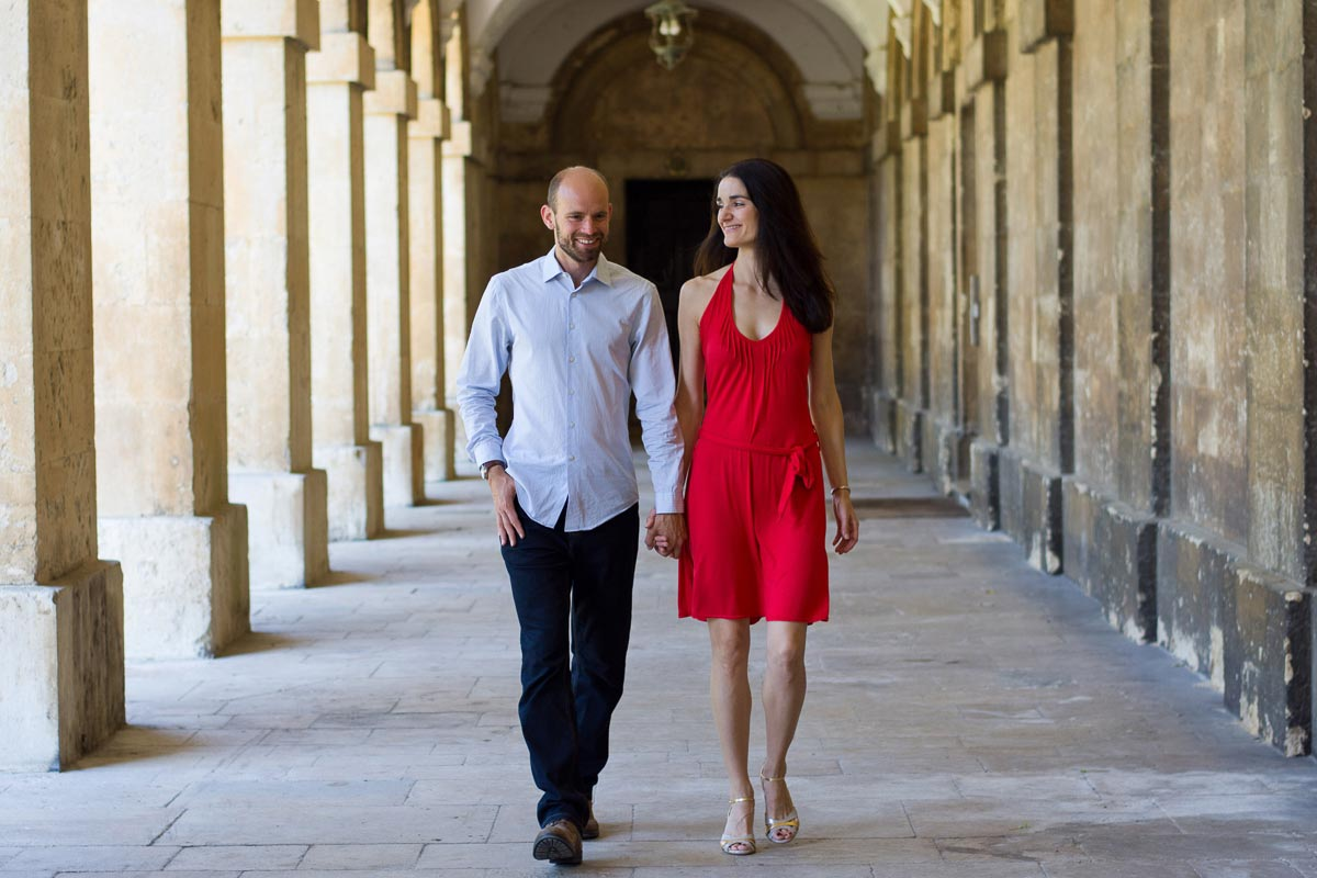 couple walking in the cloisters of magdalen college oxford