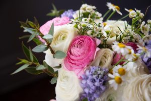 pink white and blue asymmetrical spring wedding bouquet