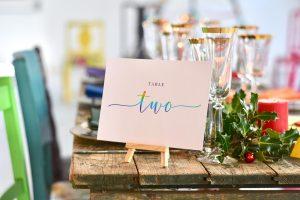 colourful christmas wedding tablescape