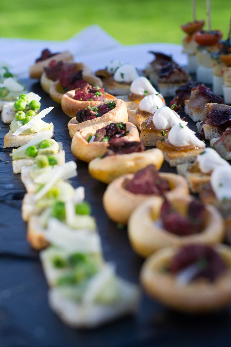 wedding canapes on a slate plate