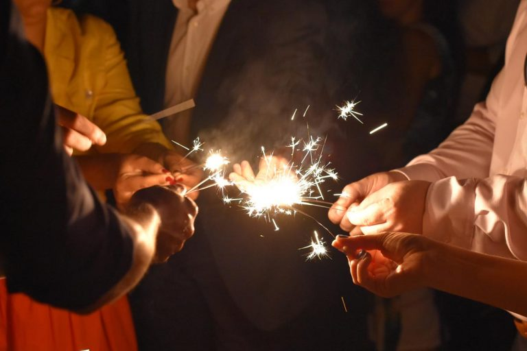 wedding guests lighting their sparklers