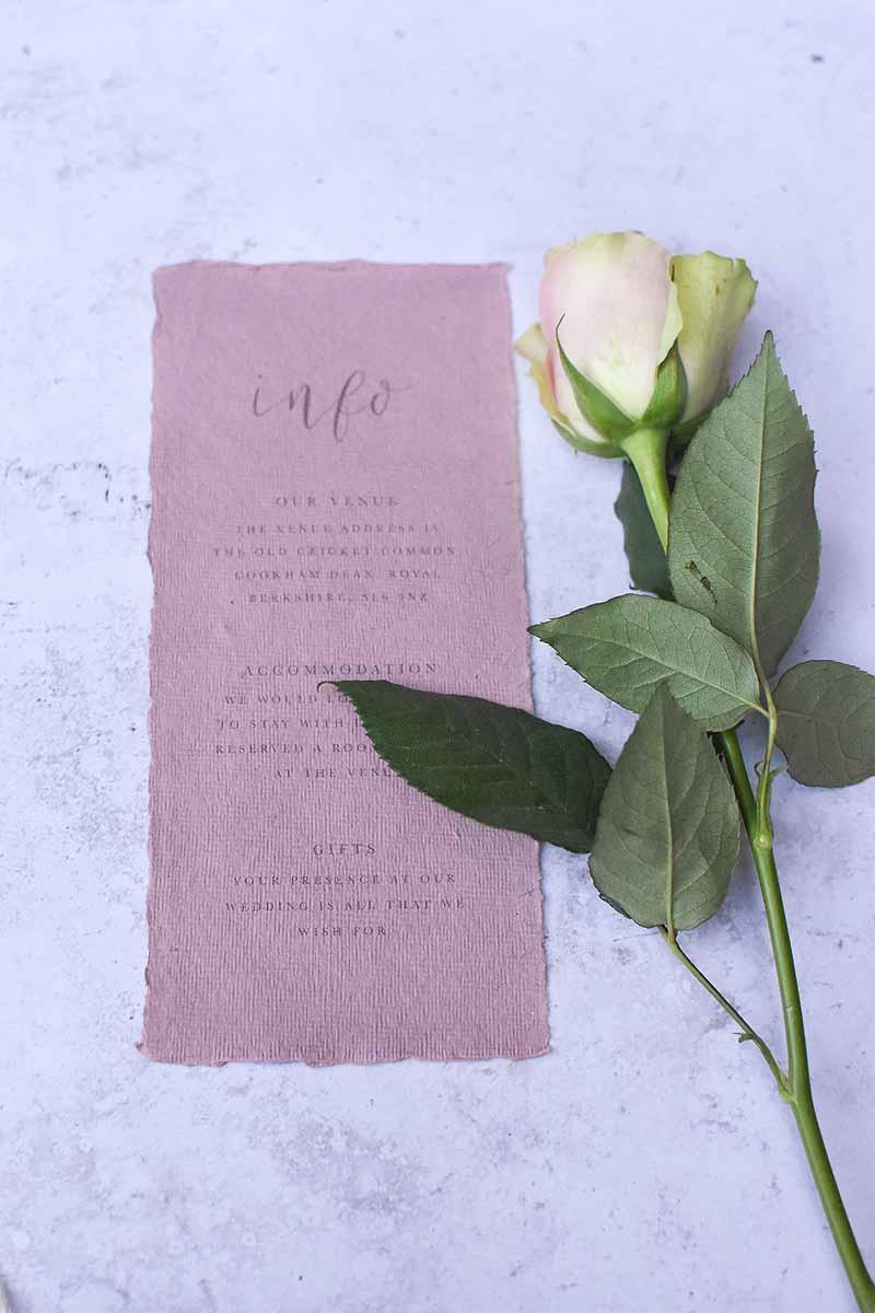 rose with blush pink wedding info card