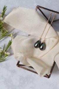 black pearl drop earrings by MacAngus Designs