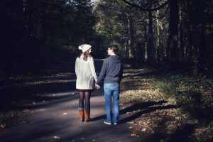 couple in Wytham Woods, Oxfordshire