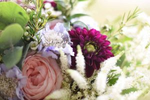 bridal bouquet with pinks and blues