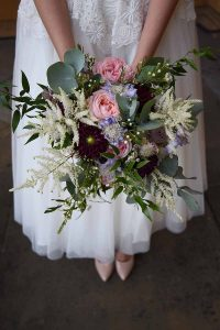 pink, blue, white and green bridal bouquet