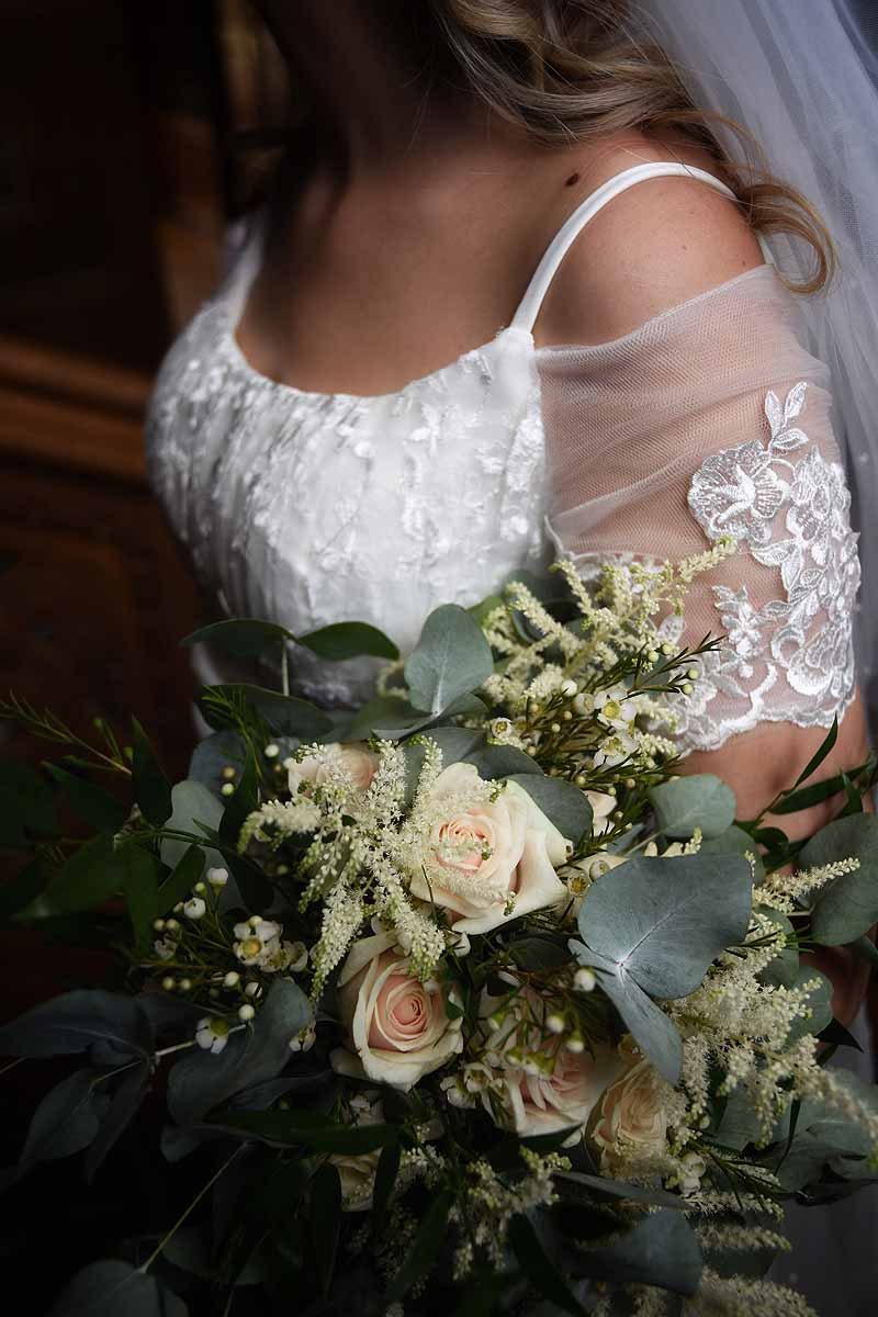 ivory and green themed bridal bouquet