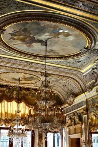 baroque frescoed ceiling with cold decoration and chandeliers