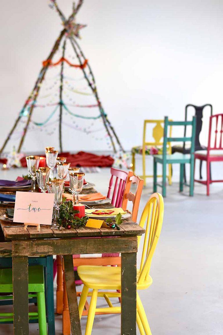 Rainbow wedding table and room decor