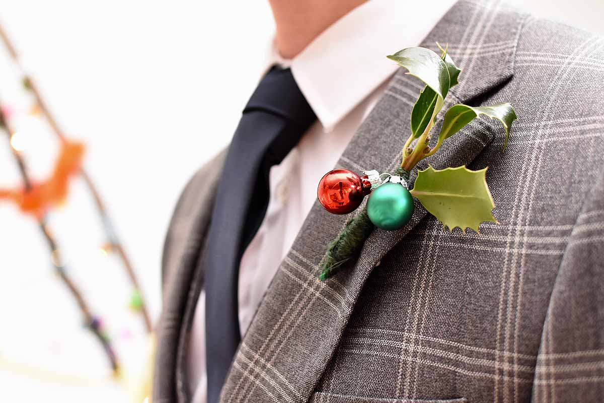 holly and bauble Christmas buttonhole