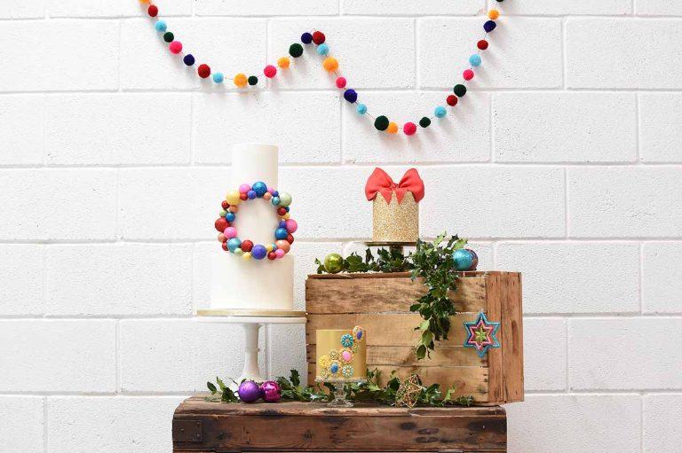jewel cakes and rainbow pompoms