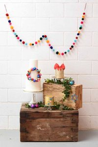 jewel wedding cakes and colourful pompoms