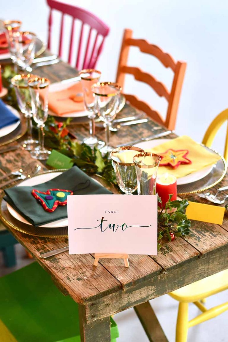 Wedding table two with rainbow Christmas theme