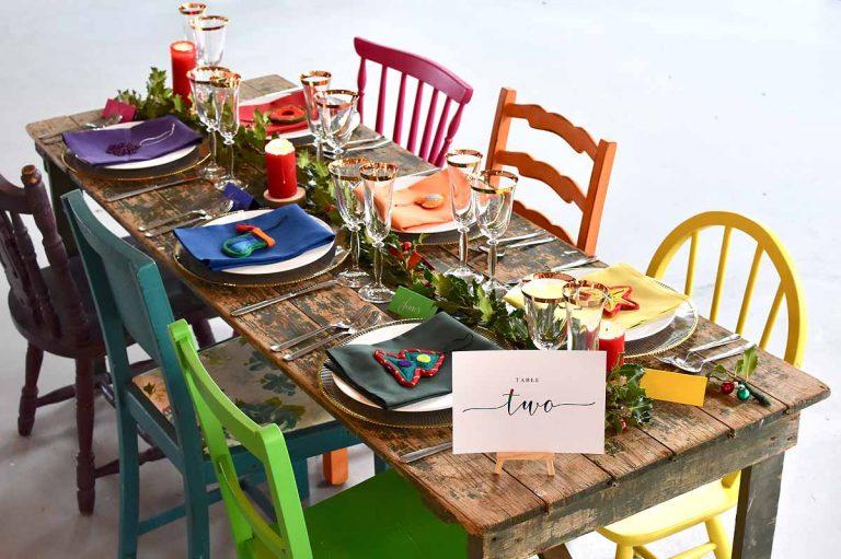 rainbow inspired Christmas wedding breakfast table