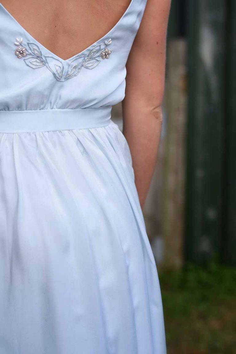 bead detailing on back of Sienna von Hildermar wedding dress