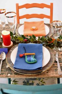 blue and orange Christmas table decorations