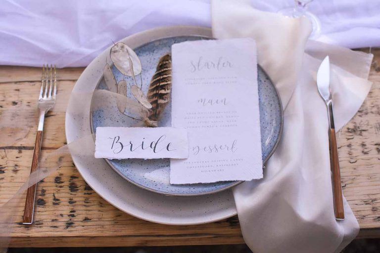 Bride table setting for wedding breakfast with stationery by LouPaper