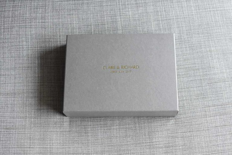Wedding album grey presentation box with gold embossed writing