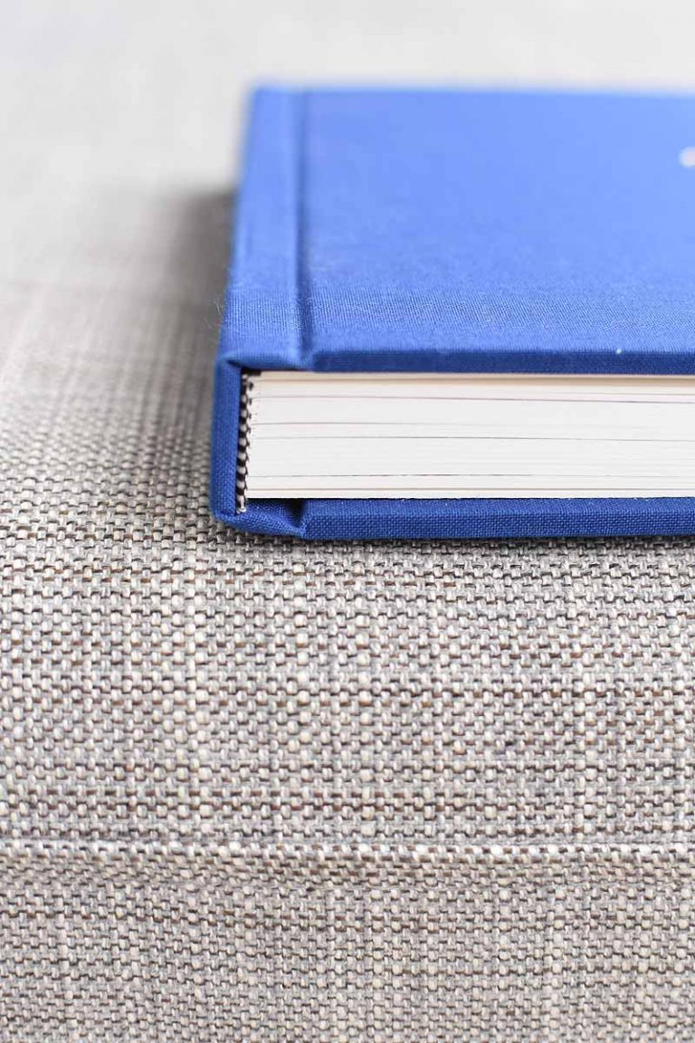 blue linen bound wedding photo album