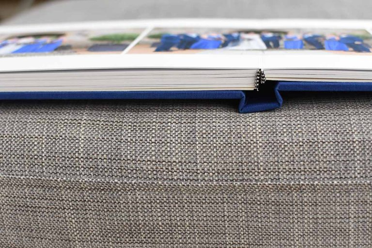 flat lay wedding album with thick pages
