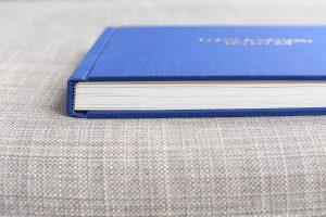 blue linen bound wedding photo album