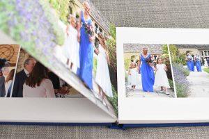 bridesmaid photos inside a wedding album