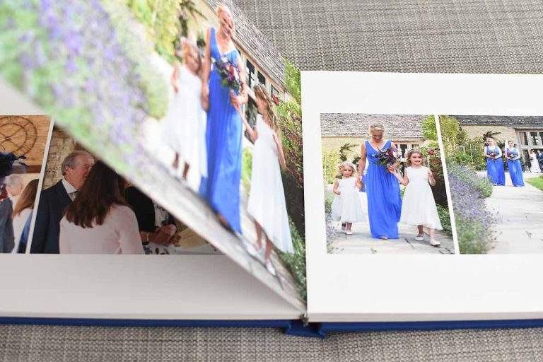 bridesmaid photos inside a wedding album