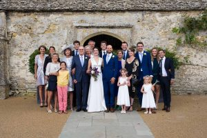 Wedding group photo at Caswell House, Oxfordshire