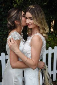 Two brides in the garden at The Elephant Pangbourne