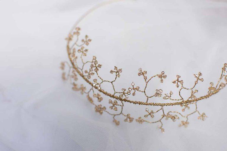 Wedding hair vine tiara with Swarovski crystal blossom Levena