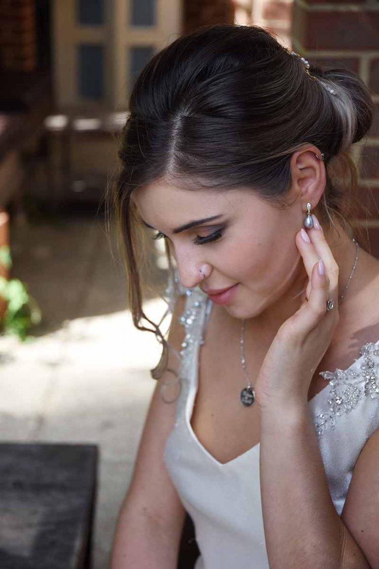 Bride wearing jewellery by MacAngus Designs