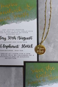Gold to have and to hold necklace by MacAngus Designs with stationery by Cosmic Caligraphy