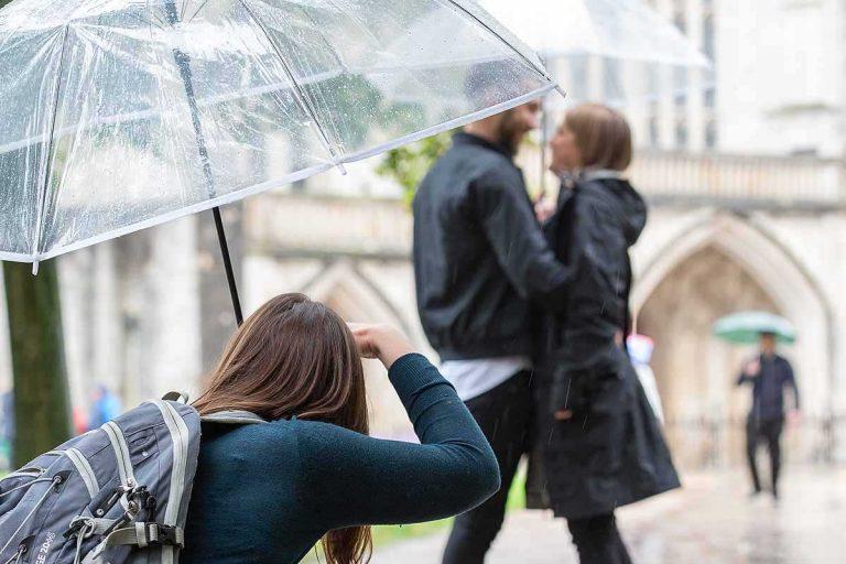 taking a photograph under an umbrella