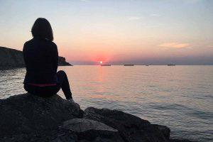 Lorna watching the sunset