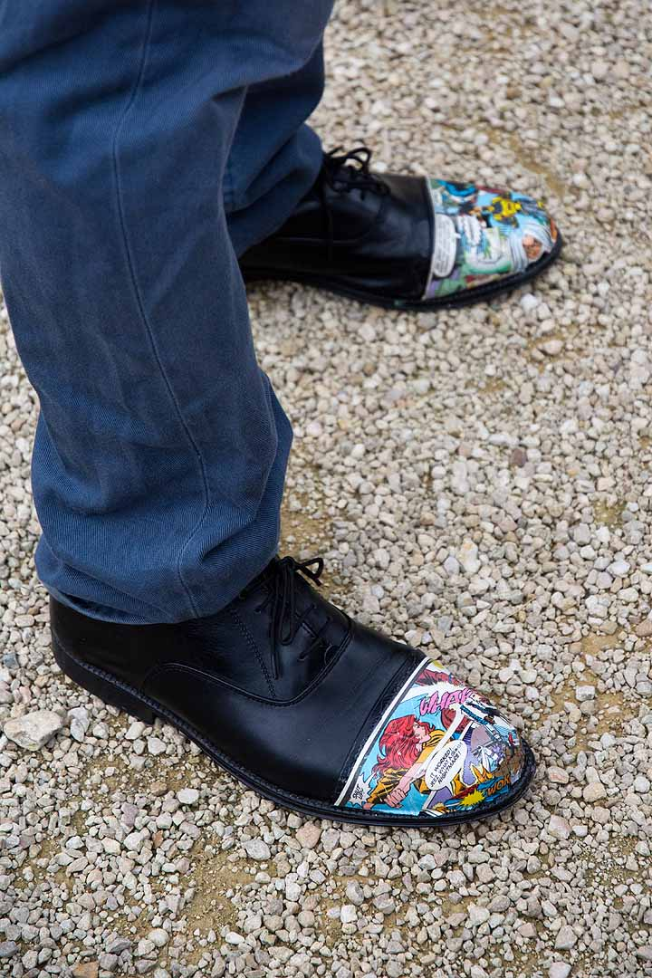 shoes with cartoon graphics on the toes