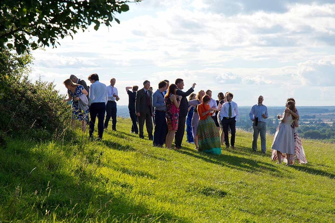 Wedding guests at Wittenham Clumps, Oxfordshire