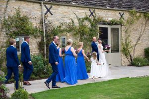 Bridal party at Caswell House, Oxfordshire