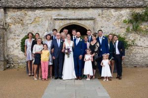Family group wedding photo at Caswell House, Oxfordshire