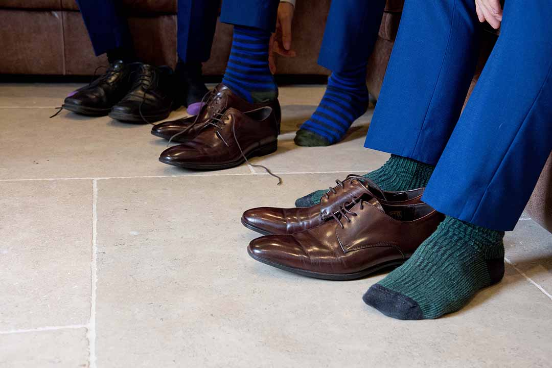polished shoes and colourful socks
