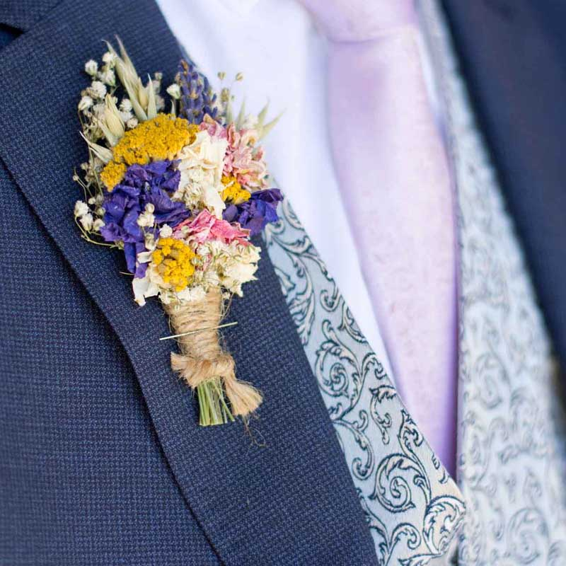 colourful dried flower button hole